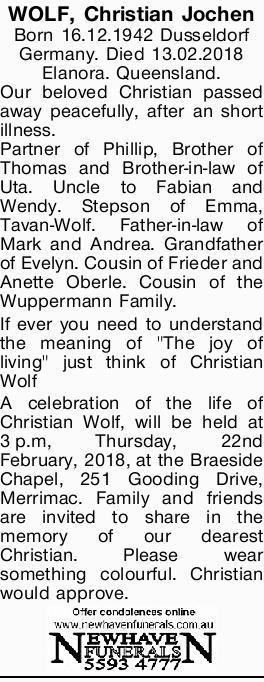WOLF, Christian Jochen   Born 16.12.1942 Dusseldorf Germany.   Died 13.02.2018   Elan...