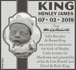 KING HENLEY JamEs 07 02 2018 6758186aa 7LB Sally Barnden & Renee King are proud to announce the...