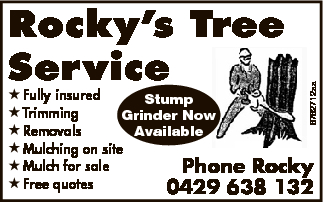 Rocky's Tree Service    - Fully insured   - Stump Trimming   - Grinder Now Remova...