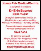 Noosa Fair MedicalCentre is delighted to welcome Dr Erin Baynes MB BS FRACGP