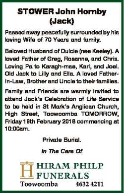 STOWER John Hornby (Jack) Passed away peacefully surrounded by his loving Wife of 70 Years and famil...