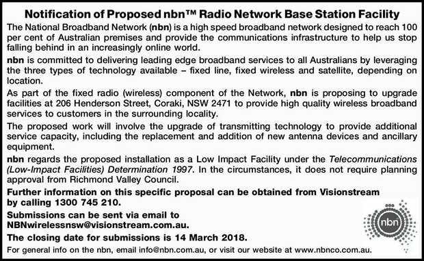 Notification of Proposed nbn™ Radio Network Base Station Facility The National Broadband Ne...