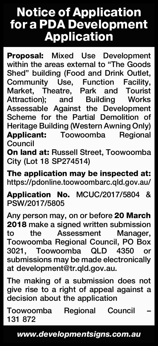 Notice of Application for a PDA Development Application   Proposal: Mixed Use Development wit...
