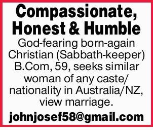 Compassionate, Honest & Humble God-fearing born-again Christian (Sabbath-keeper) B.Com, 59, s...