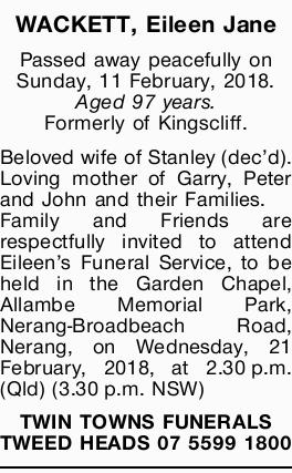Passed away peacefully on Sunday, 11 February, 2018.   Aged 97 years.   Formerly of Kings...