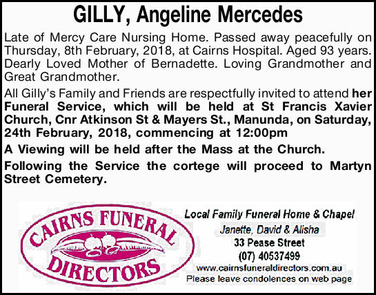 Late of Mercy Care Nursing Home.   Passed away peacefully on Thursday, 8th February, 2018, at...