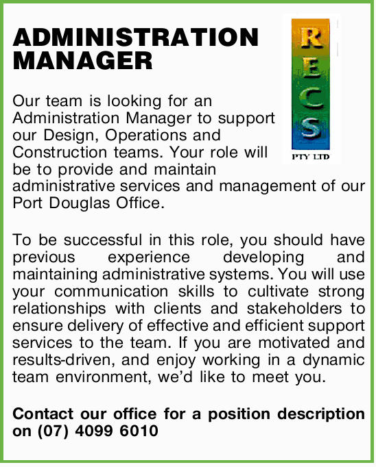 Our team is looking for an Administration Manager to support our Design, Operations and Construct...