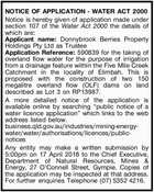 NOTICE OF APPLICATION - WATER ACT 2000