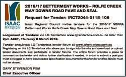 2016/17 BETTERMENT WORKS - ROLFE CREEK MAY DOWNS ROAD PAVE AND SEAL Request for Tender: IRCT2044-011...