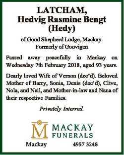 LATCHAM, Hedvig Rasmine Bengt (Hedy) of Good Shepherd Lodge, Mackay. Formerly of Goovigen Passed awa...
