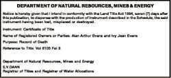 DEPARTMENT OF NATURAL RESOURCES, MINES & ENERGY Notice is hereby given that I intend in conformi...