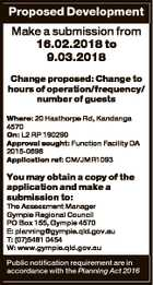 Proposed Development Make a submission from 16.02.2018 to 9.03.2018 Change proposed: Change to hours of operation/frequency/ number of guests Where: 20 Hasthorpe Rd, Kandanga 4570 On: L2 RP 190290 Approval sought: Function Facility DA 2015-0696 Application ref: CM/JMR1093 You may obtain a copy of ...