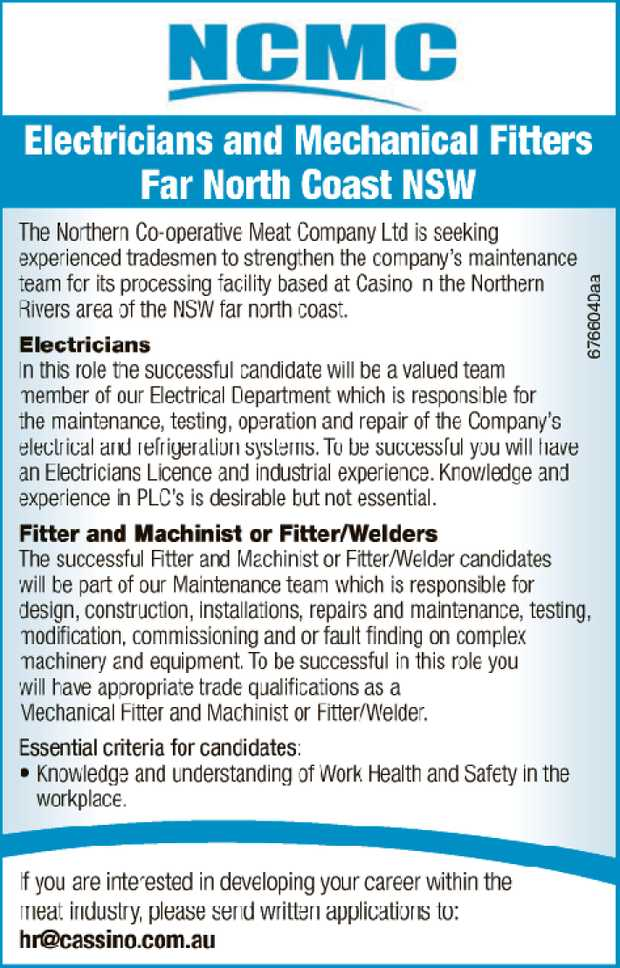 Electricians and Mechanical Fitters