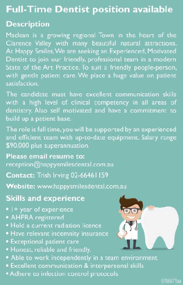 Full-Time Dentist position available    Description    Maclean is a growing regional...