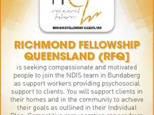 Richmond Fellowship Queensland (RFQ] For more information regarding these roles please visit www.rfq.com.au/our-current-vacancies 6762270aa is seeking compassionate and motivated people to join the NDIS team in Bundaberg as support workers providing psychosocial support to clients. You will support clients in their homes and in the community ...