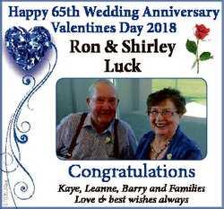 ppy 65th Wedding Anniversary Happy V Valentines Day 2018 6763524aa Ron & Shirley Luck Congratula...