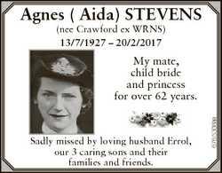 Agnes ( Aida) STEVENS (nee Crawford ex WRNS) 13/7/1927 - 20/2/2017 Sadly missed by loving husband Er...