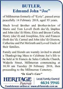 "BUTLER, Edmund John ""Joe"" of Millmerran formerly of ""Eyrie"", passed away peacefu..."