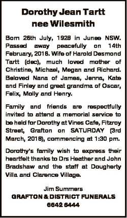 Dorothy Jean Tartt nee Wilesmith Born 26th July, 1928 in Junee NSW. Passed away peacefully on 14th F...