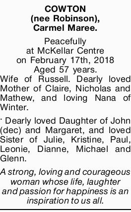 Peacefully at McKellar Centre on February 17th, 2018