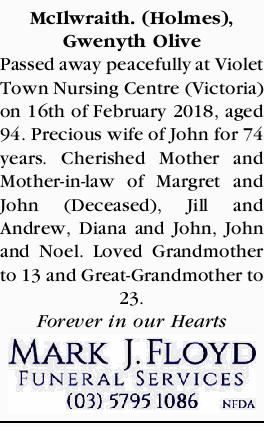 McIlwraith. (Holmes), Gwenyth Olive