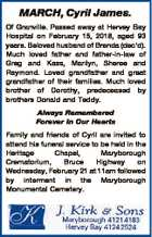 MARCH, Cyril James. Of Granville. Passed away at Hervey Bay Hospital on February 15, 2018, aged 93 years. Beloved husband of Brenda (dec'd). Much loved father and father-in-law of Greg and Kass, Marilyn, Sheree and Raymond. Loved grandfather and great grandfather of their families. Much loved brother of Dorothy ...