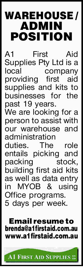 A1 First Aid Supplies Pty Ltd is a local company providing first aid supplies and kits to busines...