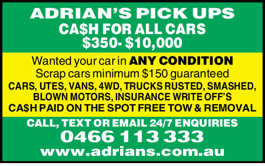 ADRIAN'S PICK UPS    CA$H FOR ALL CARS $350- $10,000   Wanted your car in ANY CONDITI...