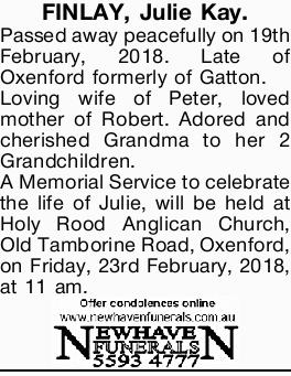 FINLAY, Julie Kay.