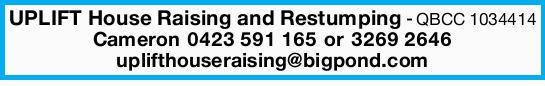 QBCC 1034414   CALL NOW! Cameron uplifthouseraising@bigpond.com