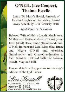 O'NEIL (nee Cooper), Thelma Estelle Late of St. Mary's Hostel, formerly of Eastern Heights a...