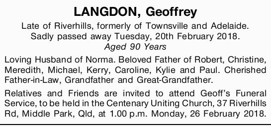 Late of Riverhills, formerly of Townsville and Adelaide.   Sadly passed away Tuesday, 20th Fe...