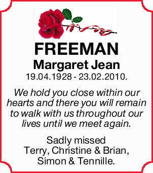 FREEMAN Margaret Jean