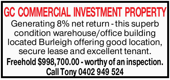 Generating 8% net return - this superb condition warehouse/office building located Burleigh offer...