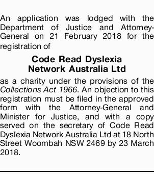 An application was lodged with the Department of Justice and Attorney-General on 21 February 2018...