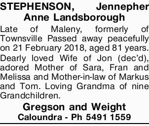 STEPHENSON, Jennepher Anne Landsborough