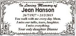 In Loving Memory of Jean Hanson 26/7/1927  21/2/2015 You walk with me every day Mum. I miss our talk...