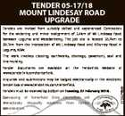 TENDER 05-17/18 MOUNT LINDESAY ROAD UPGRADE Tenders are invited from suitably skilled and experienced Contractors for the widening and minor realignment of 2.4km of Mt Lindesay Road between Legume and Woodenbong. The job site is located 26.7km to 29.1km from the intersection of Mt Lindesay Road ...