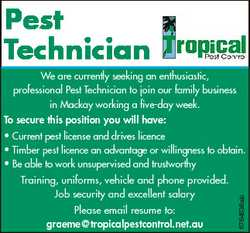 Pest Technician We are currently seeking an enthusiastic, professional Pest Technician to join our f...