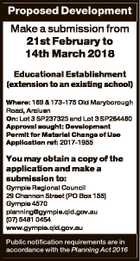 Proposed Development Make a submission from 21st February to 14th March 2018 Educational Establishment (extension to an existing school) Where: 169 & 173-175 Old Maryborough Road, Araluen On: Lot 3 SP237323 and Lot 3 SP284460 Approval sought: Development Permit for Material Change of Use Application ref: 2017-1955 You may obtain a ...