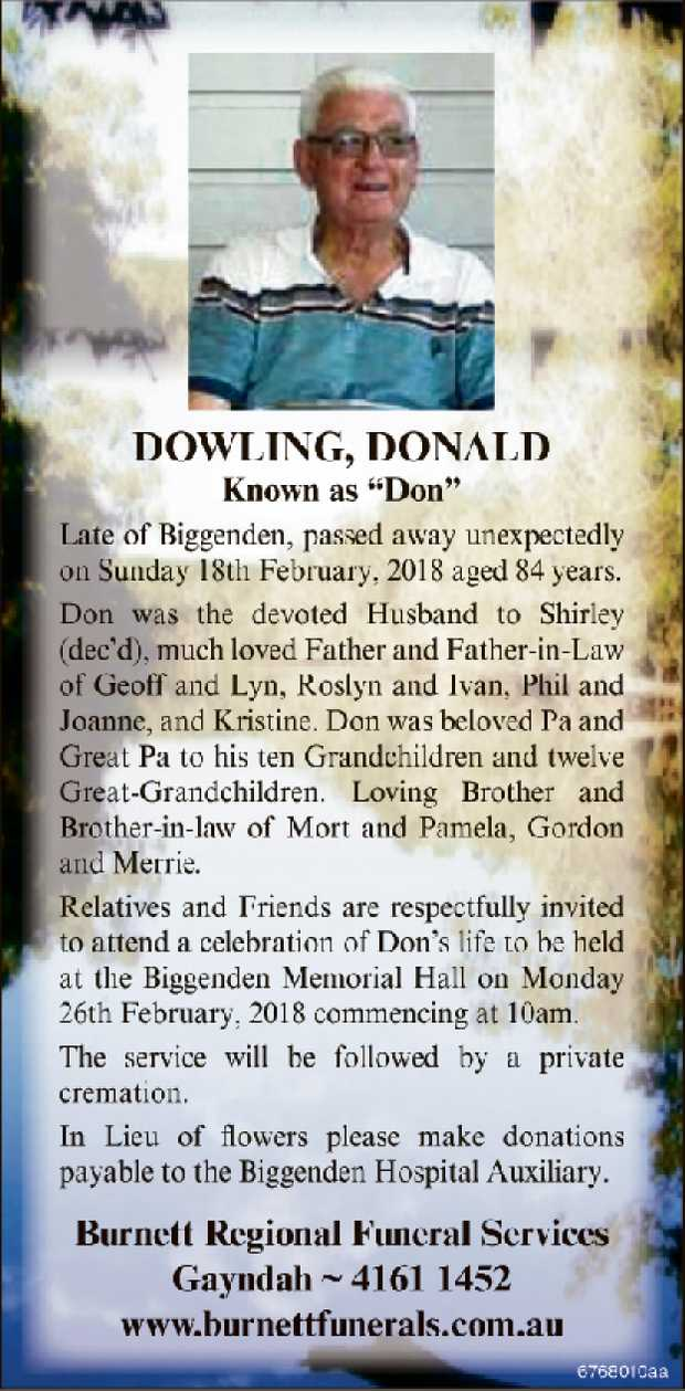 "Dowling, Donald known as ""Don""