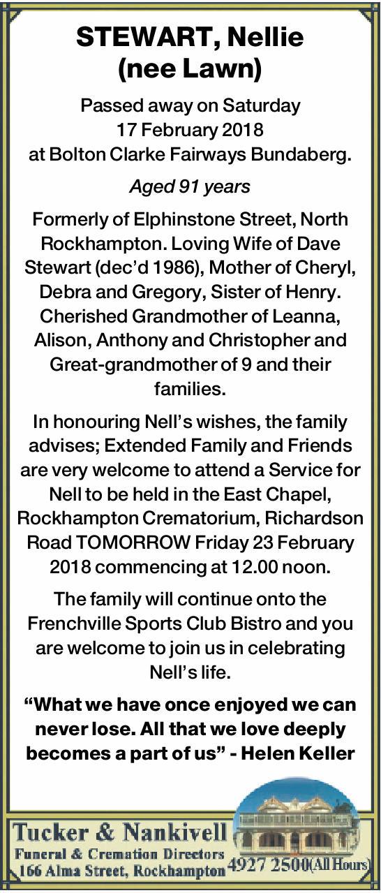 Passed away on Saturday 17 February 2018 at Bolton Clarke Fairways Bundaberg.   Aged 91...