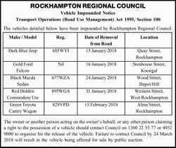 ROCKHAMPTON REGIONAL COUNCIL Vehicle Impounded Notice Transport Operations (Road Use Management)...