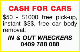 CASH FOR CARS     $50 - $1000 free pick-up  Instant $$$  Free car body removal....