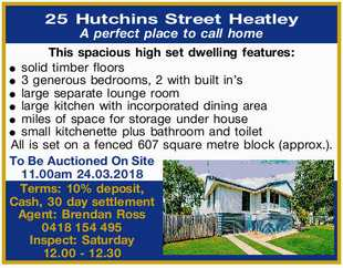25 Hutchins Street Heatley    A perfect place to call home    This spacious high set dwel...