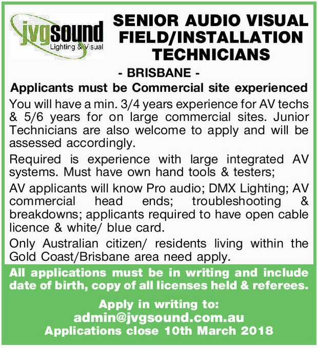 - BRISBANE-   Applicants must be Commercial site experienced You will have a min. 3/4 years e...