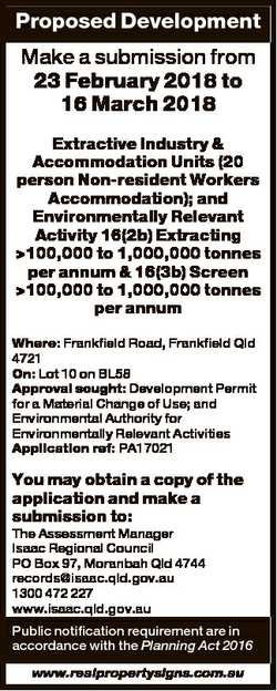 Proposed Development Make a submission from 23 February 2018 to 16 March 2018 Extractive Industry &a...