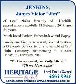 """JENKINS, James Victor """"Jim"""" of Cecil Plains formerly of Chinchilla, passed away peacefully..."""