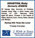 HOUSTON, Ruby (formerly JESSEN) Of Hervey Bay; formerly of Childers. Passed away after a short illness with Cancer on 12th February 2018, aged 62 years. Forever in the hearts of Kayla, Navarre, Evan, Diane, Peter, Donald and William. Resting With Those She Loved Privately Cremated.