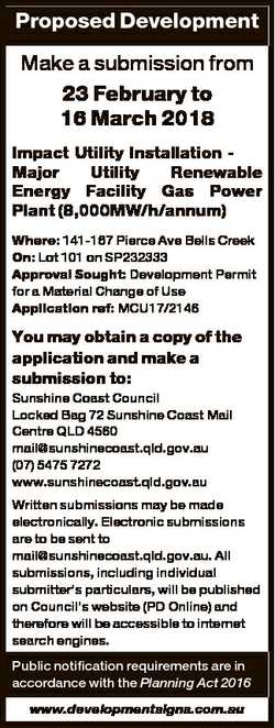 Proposed Development Make a submission from 23 February to 16 March 2018 Impact Utility Installation...
